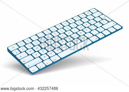 Modern Blue Aluminum Computer Keyboard Isolated On White Background. 3d Rendering Of Gear For Home O