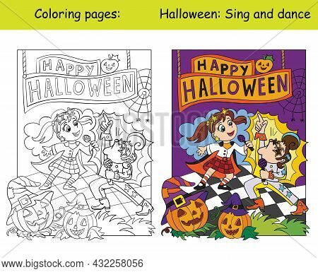 Children In Costumes Of Retro Singers Sing On Stage. Halloween Concept. Coloring Book Page For Child