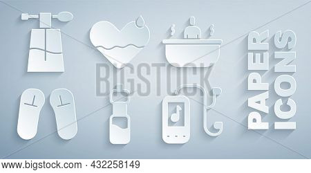 Set Bottle Of Water, Bathtub, Slipper, Music Player, Heart Heal And Perfume Icon. Vector