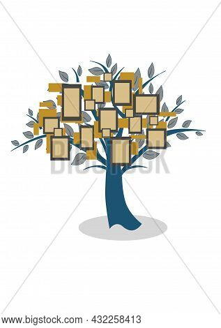 Illustration In Material Design Style On The Theme Of Family Tree And Relatives.
