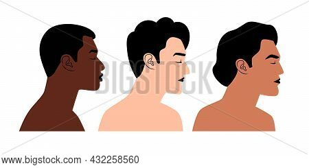 Diverse Nations Profiles. Cartoon Persons Of Different Nationalities And Colors, Vector Illustration