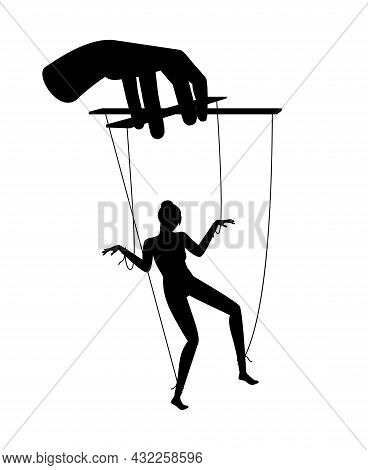 Woman Puppet. Female Person Marionette Manipulation, Business Puppeteer Hand Manipulate Concept, Mal