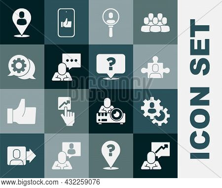 Set Team Leader, Head Hunting, Project Team Base, Search People, Speech Bubble Chat, Worker Location