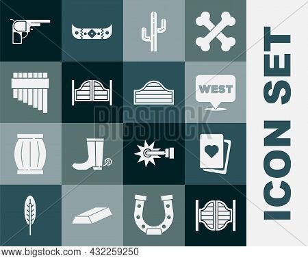 Set Saloon Door, Deck Of Playing Cards, Pointer To Wild West, Cactus, Pan Flute, Revolver Gun And Ic