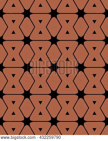 A Seamless Repeat Pattern Of Brown Sandboxes And Diamonds With Black Zigzagging Lines