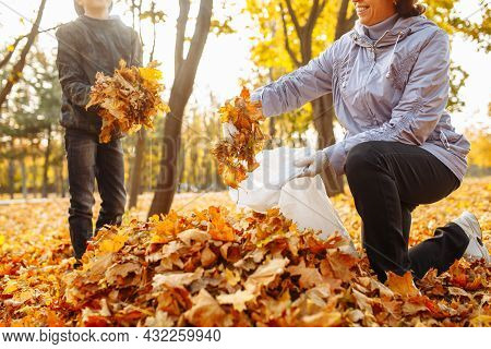 Mom And Child Are Cleaning Fallen Leaves In The Park. A Woman And A Boy Are Gathering Foliage. Autum