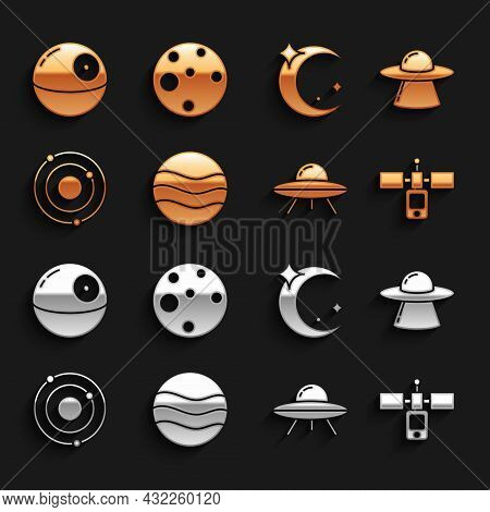 Set Planet, Ufo Flying Spaceship, Satellite, Solar System, Moon And Stars, Death And Mars Icon. Vect