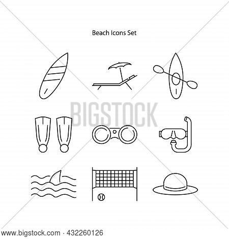 Beach Icons Set Isolated On White Background From. Beach Icon Thin Line Outline Linear Beach Symbol