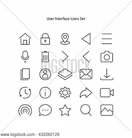 User Interface Icons Set Isolated On White Background. User Interface Icon Thin Line Outline Linear