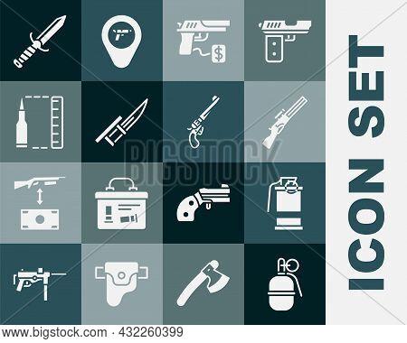 Set Hand Grenade, Smoke, Hunting Gun, Buying Pistol, Bayonet On Rifle, Bullet, Military Knife And Re