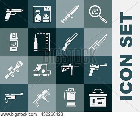 Set Military Ammunition Box, Mauser Gun, Bayonet Rifle, Knife, Bullet, Pepper Spray, Pistol Or And H