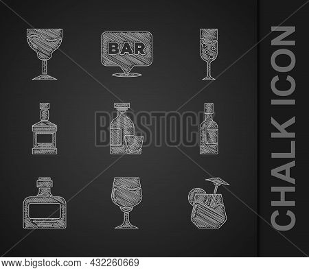 Set Alcohol Drink Rum, Wine Glass, Cocktail, Champagne Bottle, Whiskey, Glass Of Champagne And Icon.