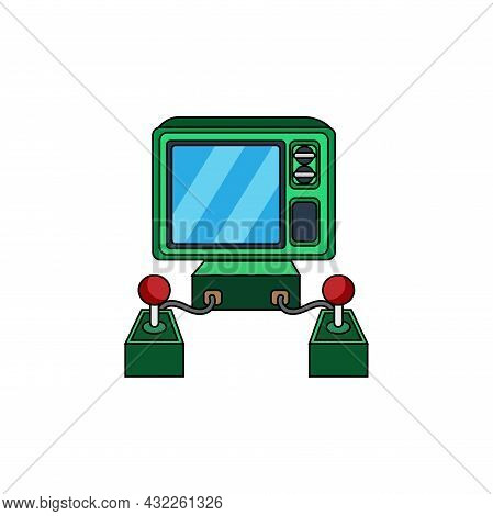Isolated Arcade With An Incorporated Joystick And Screen Vector