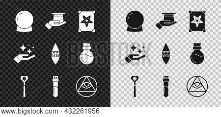 Set Magic Ball, Magician Hat In Hand, Ancient Magic Book, Wand, Bottle With Potion, Masons, Sparkle