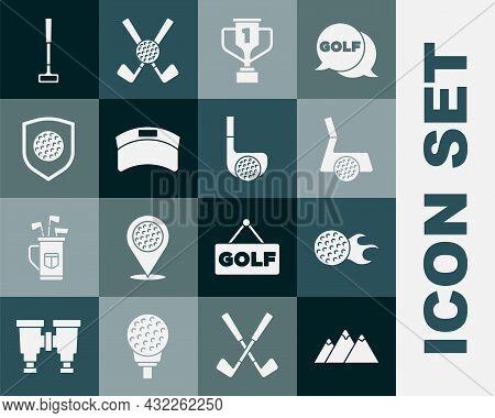 Set Mountains, Golf Ball, Club With, Award Cup Golf, Sun Visor Cap, Shield, And Icon. Vector