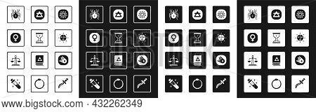 Set Pentagram In A Circle, Medieval Goblet, Venus, Spider, Sun, Air Element, Comet Falling Down Fast