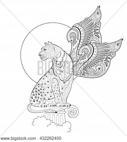 Illustration Of Magic Fairyland Griffin From Ancient Legend. Mythological Warlike Animal With Wings.