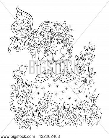 Black And White Page For Kids Coloring Book. Illustration Of Beautiful Little Princess In Spring Flo