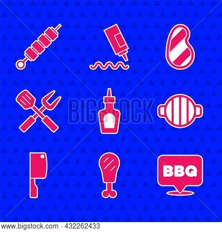 Set Sauce Bottle, Chicken Leg, Barbecue, Grill, Meat Chopper, Crossed Fork And Spatula, Steak Meat A