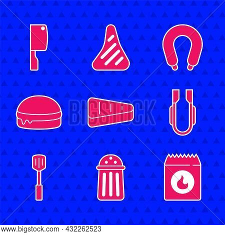 Set Steak Meat, Salt, Barbecue Coal Bag, Meat Tongs, Spatula, Burger, Sausage And Chopper Icon. Vect