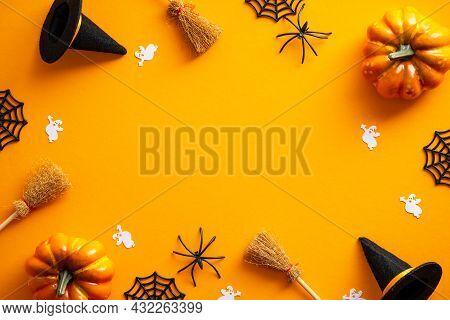 Happy Halloween Banner Design. Halloween Decorations, Pumpkins, Ghosts, Witches Hats, Brooms On Oran