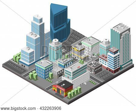 City Downtown Concept With Isometric Office Skyscrapers And Government Buildings 3d Vector Illustrat