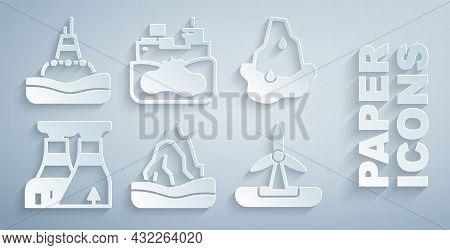 Set Iceberg, Glacier Melting, Nuclear Power Plant, Wind Turbine, Wrecked Oil Tanker Ship And Floatin