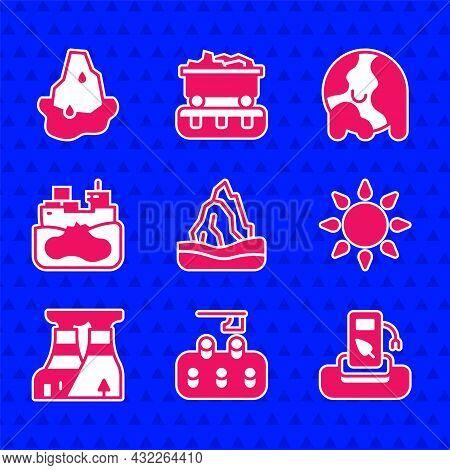 Set Iceberg, Deforestation, Petrol Gas, Sun, Nuclear Power Plant, Wrecked Oil Tanker Ship, Global Wa