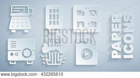 Set Vfx, Storyboard, Media Projector, Avi File Document, Softbox Light And Retro Typewriter Icon. Ve