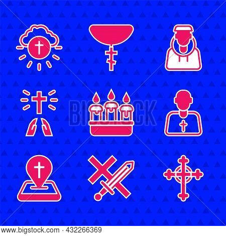 Set Burning Candle In Candlestick, Crusade, Christian Cross, Priest, Location Church Building, Hands