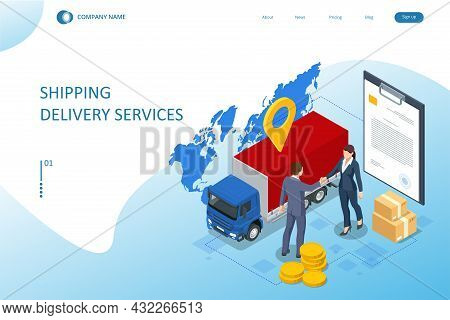 Isometric Logistics And Delivery Concept. Delivery Home And Office. City Logistics.
