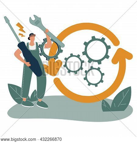 Project Operations And Process Control Or Management Tiny Person Concept. Business Flow Effective Op