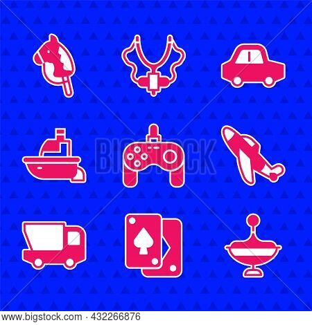 Set Gamepad, Playing Cards, Whirligig Toy, Toy Plane, Truck, Boat, And Horse Icon. Vector
