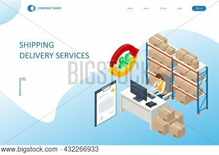 Isometric Logistics And Warehouse. Modern Warehouse Storage. Logistic Delivery Service Concept
