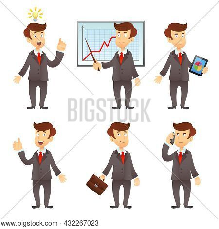 Formally Dressed  Businessman  Project Manager Cartoon Character Flat Icons Set With Graphic Diagram
