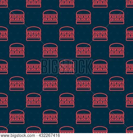 Red Line Burger Icon Isolated Seamless Pattern On Black Background. Hamburger Icon. Cheeseburger San