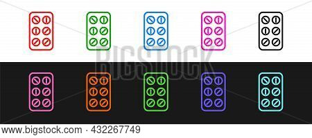 Set Line Pills In Blister Pack Icon Isolated On Black And White Background. Medical Drug Package For