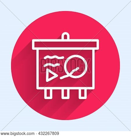 White Line Scenario On Chalkboard Icon Isolated With Long Shadow. Script Reading Concept For Art Pro