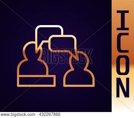 Gold Line Two Sitting Men Talking Icon Isolated On Black Background. Speech Bubble Chat. Message Ico