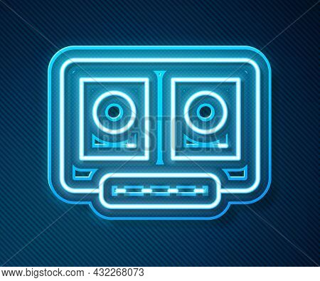 Glowing Neon Line Dj Remote For Playing And Mixing Music Icon Isolated On Blue Background. Dj Mixer