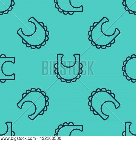 Black Line Baby Bib Icon Isolated Seamless Pattern On Green Background. Vector