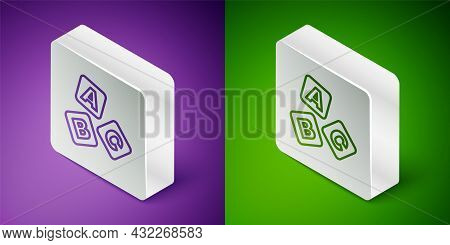 Isometric Line Abc Blocks Icon Isolated On Purple And Green Background. Alphabet Cubes With Letters