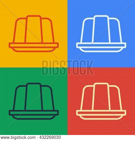 Pop Art Line Jelly Cake Icon Isolated On Color Background. Jelly Pudding. Vector