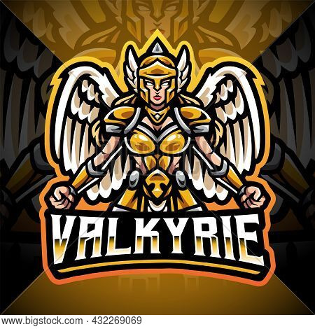 Valkyrie Esport Mascot Logo Design With Text