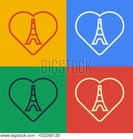 Pop Art Line Eiffel Tower With Heart Icon Isolated On Color Background. France Paris Landmark Symbol