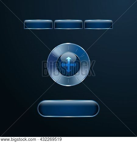 Blue Glass Futuristic User Interface Buttons, Tabs And Round Control Knob With Chrome Metallic Frame