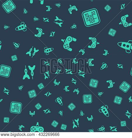 Set Gamepad, Tic Tac Toe Game, Dart Arrow And Rocket Ship Toy On Seamless Pattern. Vector