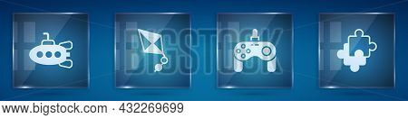 Set Submarine Toy, Kite, Gamepad And Puzzle Pieces. Square Glass Panels. Vector