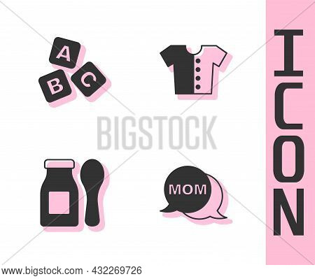 Set Speech Bubble Mom, Abc Blocks, Yogurt In Bottle With Spoon And Baby T-shirt Icon. Vector