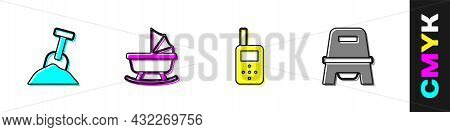 Set Sandbox With Sand And Shovel, Baby Stroller, Monitor Walkie Talkie And Potty Icon. Vector